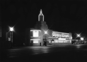 Nighttime View of Slapsy Maxie's, 1947. (Los Angeles Conservancy)
