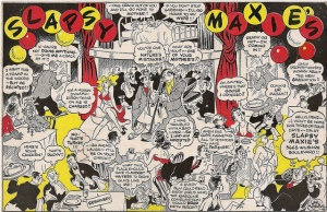 Cartoon promoting Slapsy Maxie's nightclub, circa 1943. One of the most popular acts to appear at Slapsy's was Martin & Lewis – a young crooner (Dean Martin) and his slapstick comic partner (Jerry Lewis).