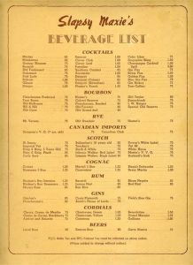Slapsy Maxie's menu (back cover), circa 1945. The popular nightclub offered an array of cocktails.