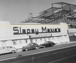 Slapsy Maxie's was a popular Miracle Mile nightclub in the 1940s. It was located at 5665 Wilshire (at the former location of the Wilshire Bowl). Note that the Marfay Buiding next door is under construction.   In the summer of 1948, Dean Martin and Jerry Lewis made their West Coast debut at Slapsy's. Their four week engagement sold out every night and earned them a contract with Paramount Pictures.