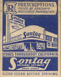 A Sontag Drug Store matchbook cover, circa 1940s. Matchbooks were a popular means of promotion.