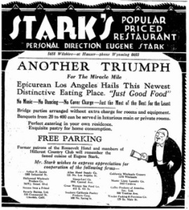 Ad for Stark's Restaurant at Wilshire and Hauser.