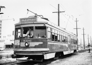 Streetcar at San Vicente Boulevard near Genesee Avenue, circa 1950s. (Los Angeles Public Library)