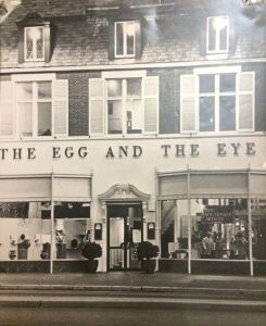 The Egg and Eye, at 5814 Wilshire Boulevard,  was founced by Edith R. Wyle (1918-1999) in 1965. Wyle was an artist who combined a popular restaurant (with an all omelet menu) with displays of internation folk art and crafts. In 1973 it evolved into what is known today as the Craft and Folk Art Museum (CAFAM).