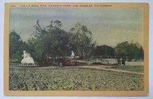 The La Brea Pits postcard (front), circa 1954. (eBay)