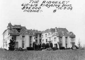 The Ridgeley apartment building at 615-619 Ridgeley Drive on December 8, 1934, which was for sale for $95,000. (Security Pacific National Bank Collection; Los Angeles Public Library)
