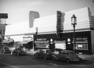 The White Spot was a restaurant and cocktail lounge on the north side of Wilshire Boulevard between Dunsmuir and Cochran Avenues. Photograph circa 1940s. (Security Pacific National Bank Collection: Los Angeles Public Library)