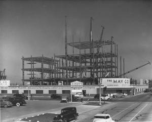 Looking northeast across Wilshire Boulevard and Fairfax Avenue at the May Company under contruction, circa 1939. Architects: Albert C. Martin & S.A. Marx. The building was purchased by the Los Angeles County Museum of Art in 1994. (Dick Whittington Studio; USC Digital Library)