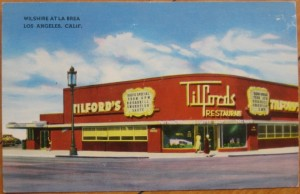 Postcard view of Tilford's restaurant and cocktail lounge, circa 1950s. The understated elegance of its original design as been hidden by a garish paint job and out of character signage.