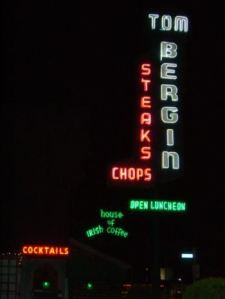 Contemporary view of the neon signage at Tom Bergin's Taven on South Fairfax Avenue.