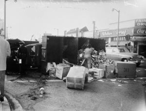 Truck accident at 6th Street and Fairfax Boulevard, 1951. Whelan Drugs (right) was located on the southwest corner of 6th and Fairfax.  Today this location is occupied by a 99-Cent Store. [Los Angeles Examiner Collection; USC Digital Library]