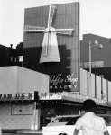 Van de Kamps coffee shop on Wilshire Boulevards, circa 1969. A windmill was a signature feature of all Van de Kamp locations thoughout Southern California. The restaurant was at the former location of the Wilshire Bowl and Slapsy Maxie's nightclub.