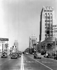 View looking east on Wilshire Bouldevard, circa 1940. (USC Digital Library)