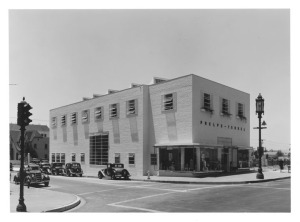 View of Burnside Avenue side of Phelps Terkel's orignal store, circa 1936. (Mott-Merge Collection; California State Library)