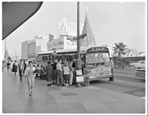 Wilshire and Fairfax bus stop in front of the May Company, circa 1959.