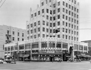 Street level view of the E. Clem Wilson Building on the northeast corner of Wilshire at La Brea. Photograph circa 1951. (Dick Whittington Studio; Los Angeles Public Library)