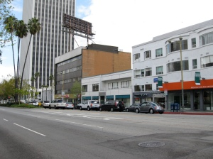 These buildings on the south side of Wilshire between Odgen and Orange Grove are going to be demolished to make way for the Wilshire/Fairfax subway station.