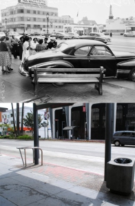 The top photograph shows the aftermath of a two-vehicle collision along Wilshire Boulevard just east of Fairfax Avenue, along with a mysteriously cheerful group of bystanders. Taken with the contemporary photograph, the montage depicts two significant changes to the Boulevard's streetscape that have taken place since mid-century. During the late 1950s, its Miracle Mile section was outfitted with traffic islands planted with palm trees, now landmarks in themselves. The bottom photo also shows two of the many large bus shelters installed along its length during the implementation of Metro Rapid bus service in the early 2000s. (Caption and photographs courtesy of urban diachrony: http://urbandiachrony.wordpress.com/2011/09/26/wilshire-boulevard-east-of-fairfax-avenue-1952-2011/.)