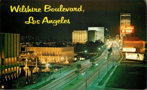 Wilshire Boulevard postcard, circa 1966, looking east at the Los Angeles County Museum of Art (left) and Prudential Square.