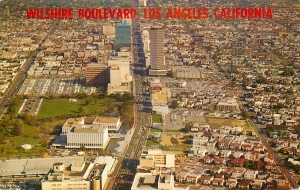 Wilshire Boulevard postcard, circa 1967. Aerial view looking east along Wilshire.