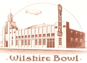 Illustration from a menu of the Wilshire Bowl, 5665 Wilshire Boulevard (at Masselin). The Wilshire Bowl opened in 1933 and was the first of several popular night clubs at this location.