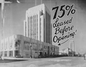 """Dominguez Building in 'Miracle Mile' sector of Wilshire Boulevard, leased to 75% of its capacity before completed. It was designed by Morgan, Walls & Clements, architects of this city."" -- Examiner clipping attached to verso, dated 7 February 1931.  (Los Angeles Examiner Collection; USC Digital Library)"