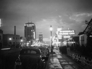 Looking west along Wilshire Boulevard from La Brea Avenue, 1937. (Herman Schultheis Collection, Los Angeles Public Library.)