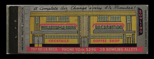 A matchbook cover promoting the Wilshire-Labrea Recreation Center bowling alley at 737 South La Brea Avenue. According to matchbook cover it featured a 28-lane bowling alley, cocktails, coffee shop. In was built in 1938 and designed by Charles Kyson. The bowling alley went out of business in the late-1950s.