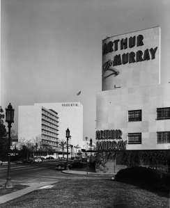 The Arthur Murray dance studio at 5828 Wilshire Boulevard (the southeast corner of Wilshire and Stanley), 1948. The dance studio was designed by Stiles O. Clement and constructed in 1942. (Dick Whittington Studio; USC Digital Library)