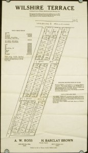 A. W. Ross, the founder of the Miracle Mile, had interests in both commerical and residential real estate. On this plot map the street labeled Cahuenga is now Cochran and the street identified as Country Club is now known as Olympic Boulevard.