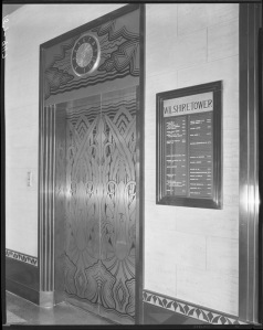 Wilshire Tower elevator and directory, circa 1930. (Mott-Merge Collection; California State Library)