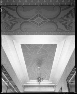 Wilshire Tower lobby-entryway ceiling detail, circa 1930. (Mott-Merge Collection; California State Library)