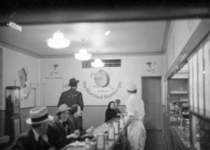 Interior view of the Wimpy Grill, circa 1937, Later known as the Flying Saucer. (Herman J. Schultheis Collection; Los Angeles Public Library)