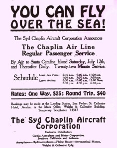 Advertisement for the Syd Chaplin Aircraft Corporation featuring their schedule of flights, circa 1919. (Water and Power Associates.)