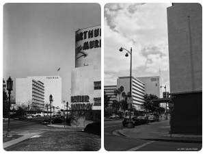 Arthur Murray Building, 1948 & 2013. Left photo: The Arthur Murray dance studio at 5828 Wilshire Boulevard (the southeast corner of Wilshire and Stanley), 1948. The dance studio was designed by Stiles O. Clement and constructed in 1942. (Top: Dick Whittington Studio; USC Digital Library – Bottom: Justin Fields)