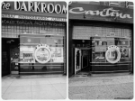 The Darkroom, circa 1975 & 2013. Left photo: The Dark Room, 5370 Wilshire Boulevard. Constructed in 1937 as the facade for a camera shop. Architect: Marcus P. Miller. Present location of El Toro Cantina. Marvin Rand, Photographer. (Library of Congress.)