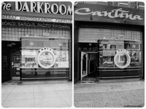 The Darkroom, circa 1975 & 2013. Left photo: The Dark Room, 5370 Wilshire Boulevard. Constructed in 1937 as the facade for a camera shop. Architect: Marcus P. Miller. Present location of El Toro Cantina. (Top: Marvin Rand, Photographer; Library of Congress – Bottom: Justin Fields)