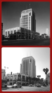 Dominguez-Wilshire Building, circa 1933 and 2013. The building opened in 1931 with retailer Myer Siegel as the major tenant. (Bottom photograph: Justin Fields.)