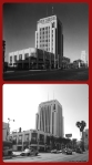 Dominguez-Wilshire Building, circa 1933 & 2013. The building opened in 1931 with retailer Myer Siegel as the major tenant.
