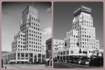 E. Clem Wilson Building, circa 1935 & 2013. Left photo: The E. Clem Wilson Building was built in 1929. Architects: Meyer & Holler. The building was in Art Deco (Zigzag) Moderne style. Photograph circa 1935. (Security Pacific National Bank Collection; Los Angeles Public Library.)