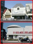 Flying Sauce Restaurant and Brown's Bakery, 1978/Staples Office Supplies, 2013. Top photo: Looking north across Wilshire Boulevard towards three businesses, the Flying Saucer restaurant (left), Brown's Wilshire Bakery, and the Roman Foods Market (right); photograph dated 1978. In the late 1980s the Flying Saucer – formely Wimpy's – and Brown's were demolished and a new building was constructed to include the Roman Foods structure as a Staples office supply store. (Marlene Laskey Collection, Los Angeles Public Library.)