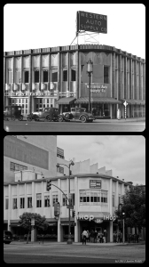 Best Western Auto Supplies, circa 1931/IHOP, 2013. Top photo: The Western Auto Parts store at the northwest corner of Wilshire and Hauser, circa 1931. Designed by Carl Lindbom and completed in 1931, it is the current location of a IHOP restaurant. (Bottom photograph: Justin Fields.)