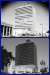 Lee Tower, 1961 & 2013. Top photo: Lee Tower, 5455 Wilshire Boulevard. Photograph dated 20 August 1961. (Los Angeles Examiner Collection, 1920-1961; USC Digital Library.) Built by W. Douglas Lee, it was the tallest office bulding in Los Angeles at the time of its contruction in 1960.