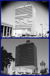 Lee Tower, 1961 & 2013. Top photo: Lee Tower, 5455 Wilshire Boulevard. Photograph dated 20 August 1961. (Los Angeles Examiner Collection, 1920-1961; USC Digital Library.) Built by W. Douglas Lee, it was the tallest office bulding in Los Angeles at the time of its contruction in 1960.  (Bottom photograph: Justin Fields.)