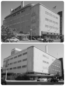 May Company , circa 1940 & 2013. Top photo: View of Fairfax Avenue side of the May Company, circa 1940. The original building opened in 1939. The store was expanded to the north in 1946. It is this addition that will be razed for the construction of the new Academy Museum. (Bottom photograph: Justin Fields)