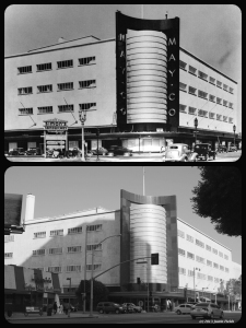 May Company, circa 1947 & 2013. Architects: Albert C. Martin & S.A. Marx. Constructed in 1939, the building was purchased by the Los Angeles County Museum of Art in 1994. It will be the future home of the Academy Museum. (Bottom photograph: Justin Fields)
