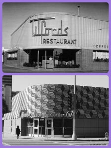 Tilford's Restaurant, circa 1949/Metro Customer Service Center, 2013. Top photo: Tilford's restaurant and cocktail lounge, located at the northwest corner of La Brea Avenue and Wilshire Boulevard, was designed by Los Angeles architect Welton Becket and opened in 1949. Welton Becket is best known for designing the LAX Theme Restaurant, the Capitol Records Building, Parker Center and other notable Los Angeles landmarks. The property was acquired by Metro in 1984 and will be the location of the La Brea/Wilshire portal of the Purple Line subway extension. (Bottom photograph: Justin Fields)