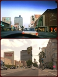 Wilshire Boulevard, circa 1963 & 2013. Top photo: Windshield view from a car driving east along Wilshire Boulevard, circa 1963. The Muellen and Bluett store is on the right is decorated for the Christmas holiday. The white vehicle is a 1963 Ford Falcon.