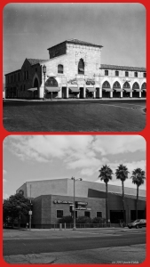 Ralph's Grocery Store, circa 1930 & 2013. Top photo: Ralph's Market at Hauser and Wilshire Boulevards, circa 1930. The Spanish Colonial Revival building with a sidewalk arcade was designed by Morgan, Walls and Clements and constructed in 1928. It was demolished in the early 1980s and replaced with a modern structure. (Bottom photograph by Justin Fields.)
