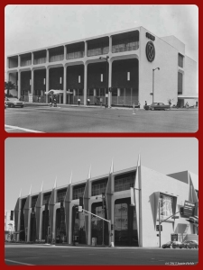 Seibu Department Store, circa 1962/Petersen Automotive Museum, 2013. Located at 6060 Wilshire Boulevard and built in 1962 for the U.S. branch of Japanese department chain store, Seibu, from 1964-1986 it housed Ohrbach's department store. Many years later, Robert E. Petersen, founder of Hot Rod and Motor Trend magazines purchased the building, and along with his wife, Margie, founded the $40 million dollar Petersen Automotive Museum in 1994. The historic building was designed by Welton Becket and Associates. (Bottom photograph by Justin Fields.)